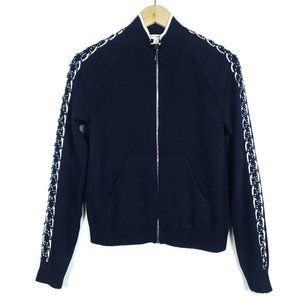 St. John Navy Blue White Zip Up Cardigan Sweater